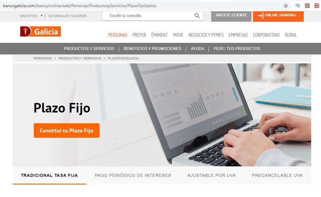 ¿Cuál es La Tasa De Plazo Fijo en Banco Galicia en Argentina?